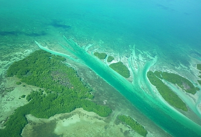 flying over ambergris Cay belize