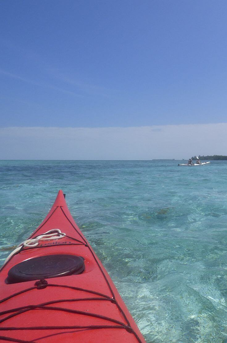 kayaking in Glover's reef Belize