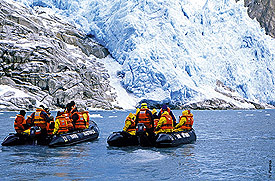 Zodiacs at Piloto glacier