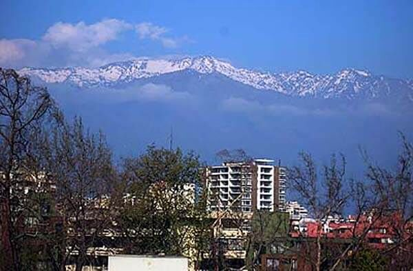 Santiago Park Plaza view of Andes