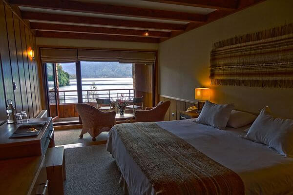 Luxury room in Chile's Patagonia Puyahuapi Lodge