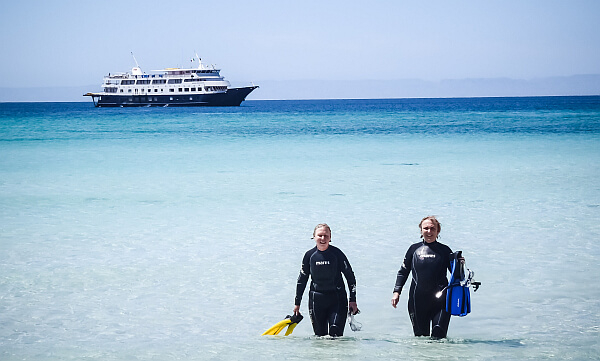 walking through the shallows on Uncruise yacht