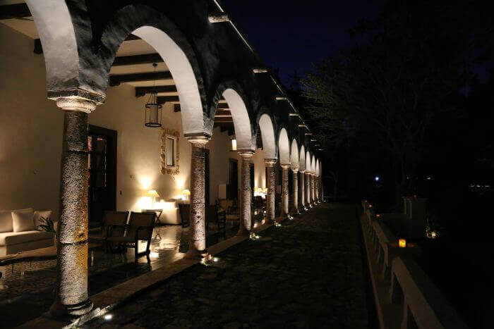 Night archways at Chable Resort
